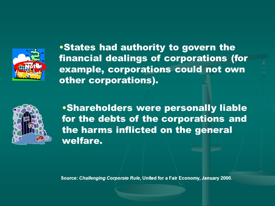 States had authority to govern the financial dealings of corporations (for example, corporations could not own other corporations).