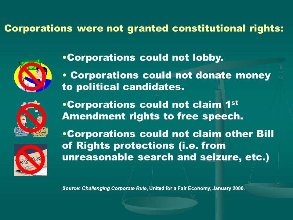Corporations were not granted constitutional rights: