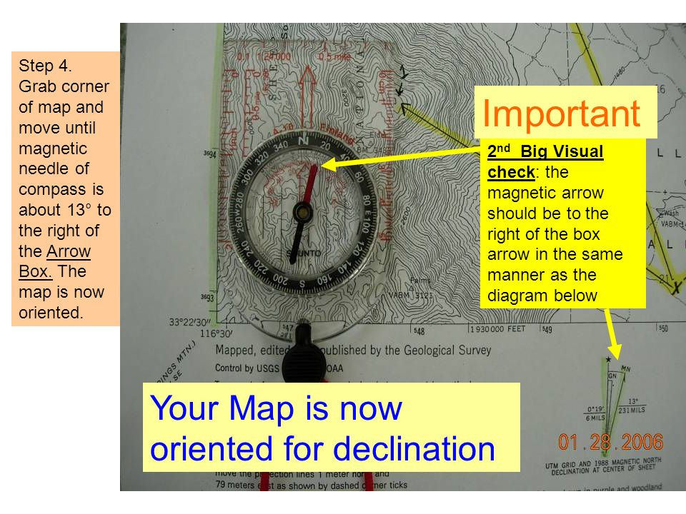 Important Your Map is now oriented for declination