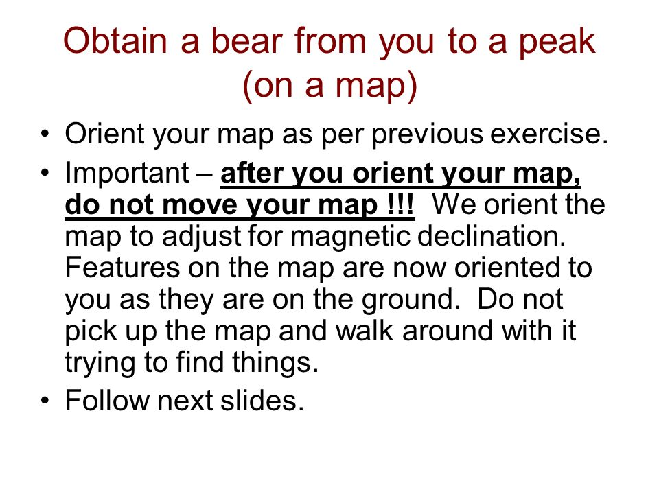 Obtain a bear from you to a peak (on a map)