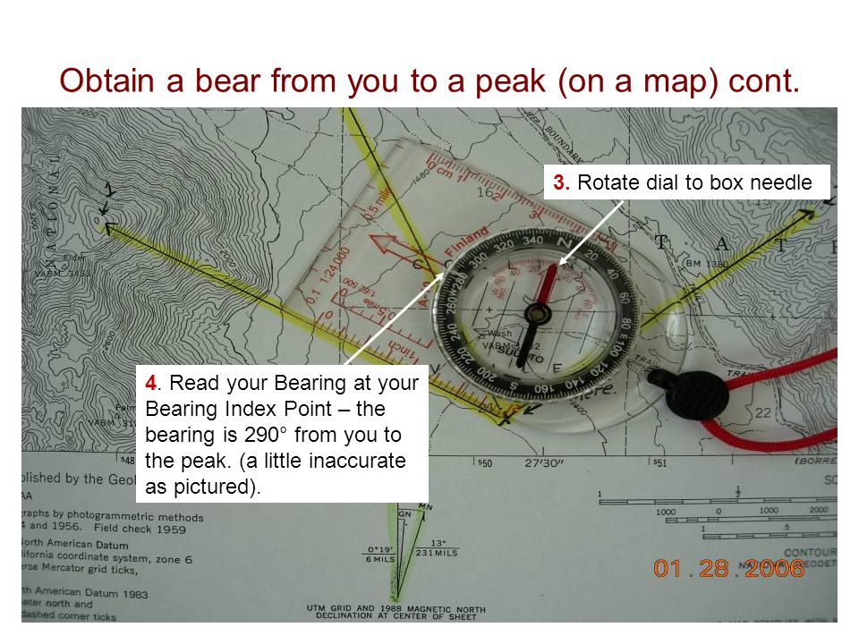 Obtain a bear from you to a peak (on a map) cont.