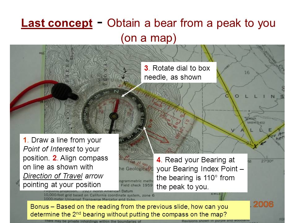 Last concept - Obtain a bear from a peak to you (on a map)