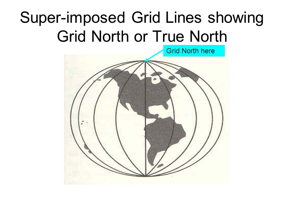 Super-imposed Grid Lines showing Grid North or True North