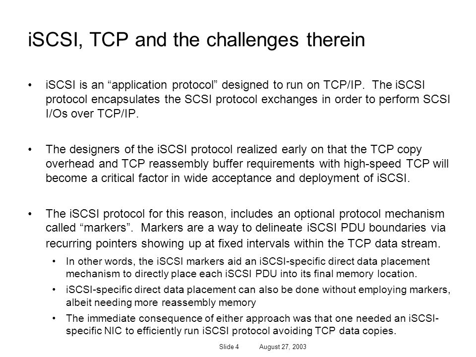 iSCSI, TCP and the challenges therein