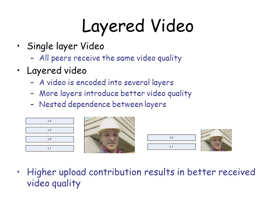 Layered Video Single layer Video Layered video