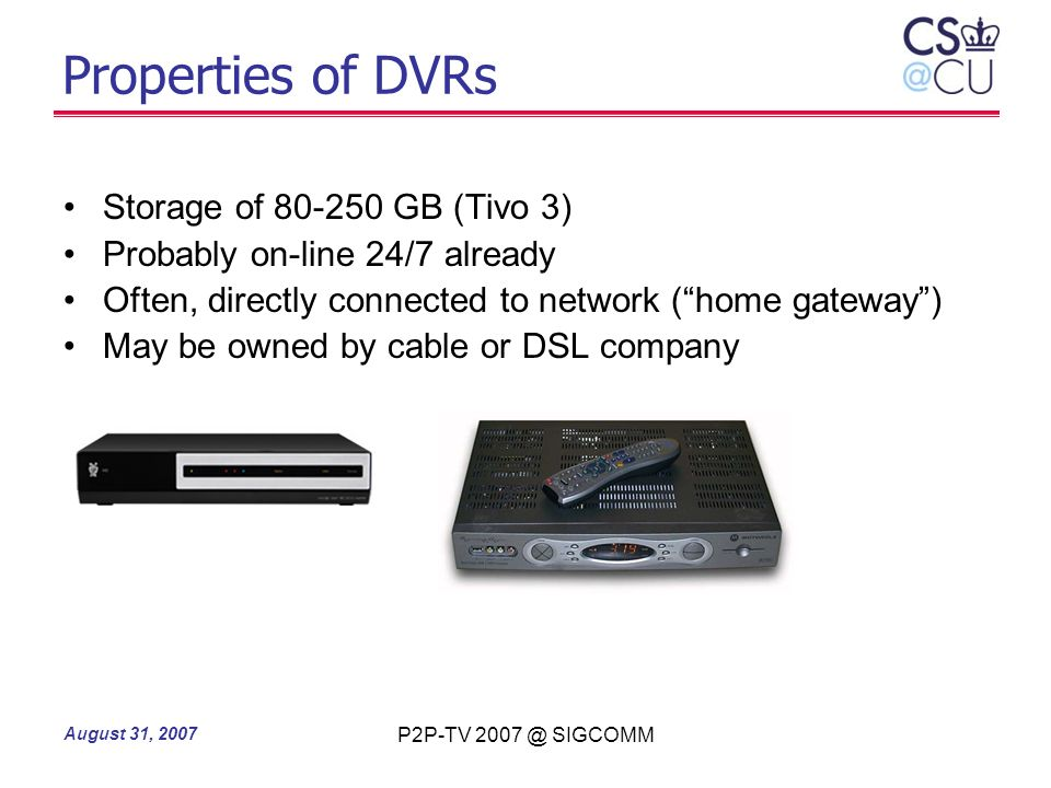 Properties of DVRs Storage of 80-250 GB (Tivo 3)