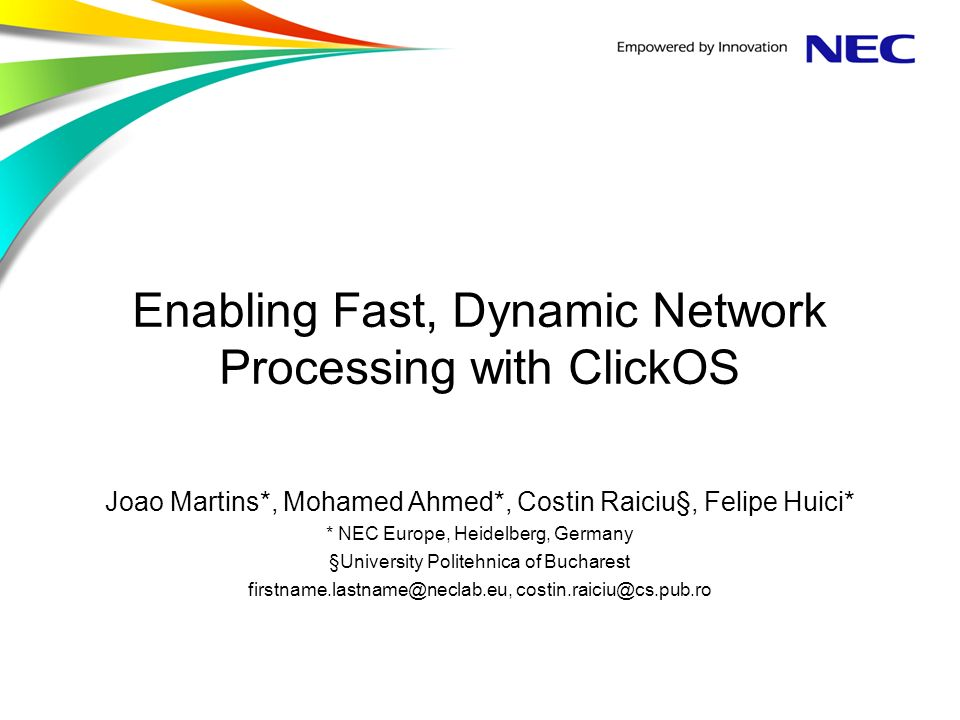 Enabling Fast, Dynamic Network Processing with ClickOS