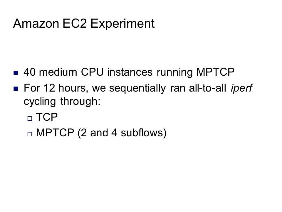 Amazon EC2 Experiment 40 medium CPU instances running MPTCP