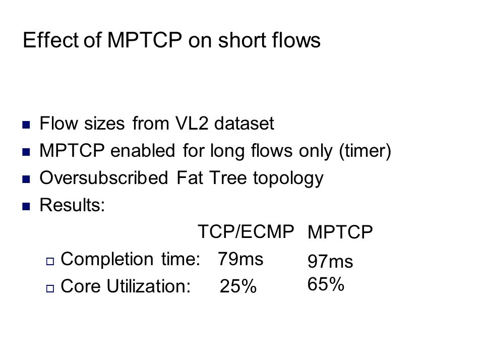 Effect of MPTCP on short flows