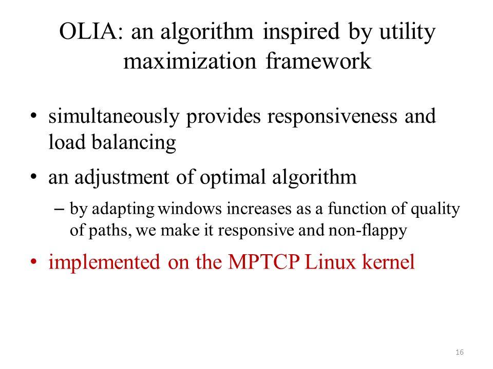 OLIA: an algorithm inspired by utility maximization framework
