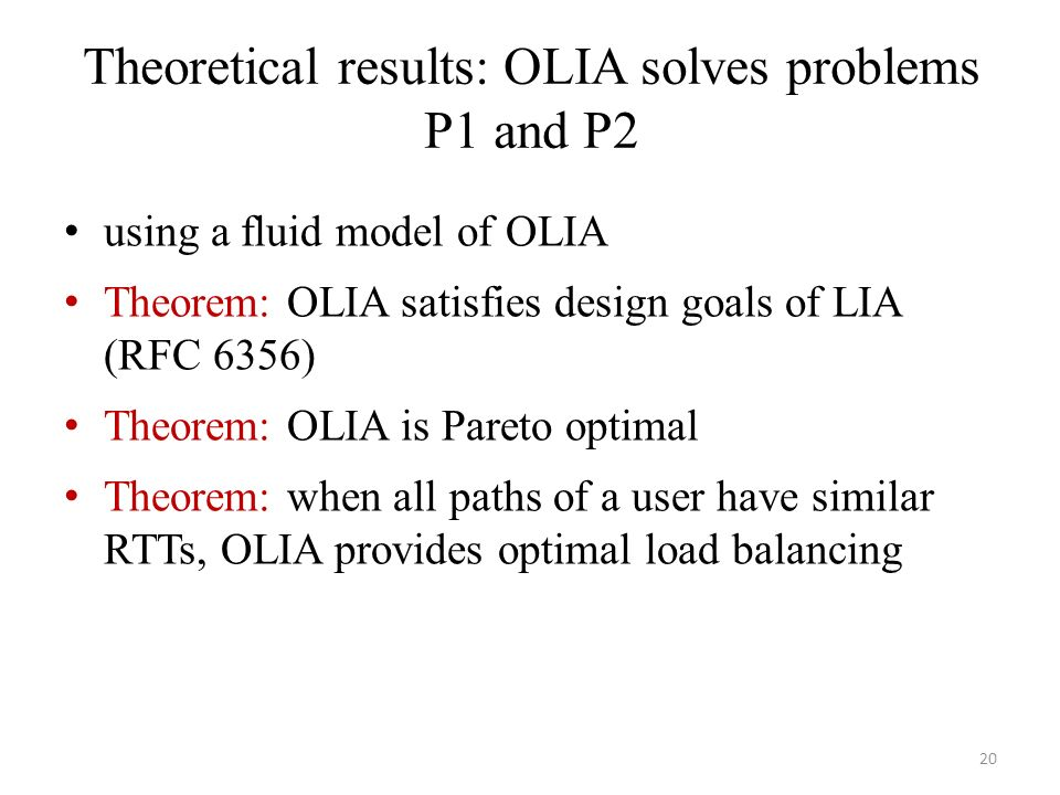 Theoretical results: OLIA solves problems P1 and P2