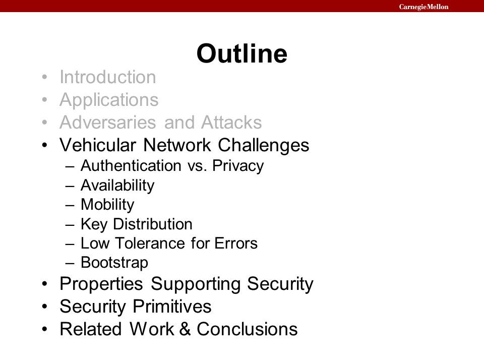 Outline Introduction Applications Adversaries and Attacks