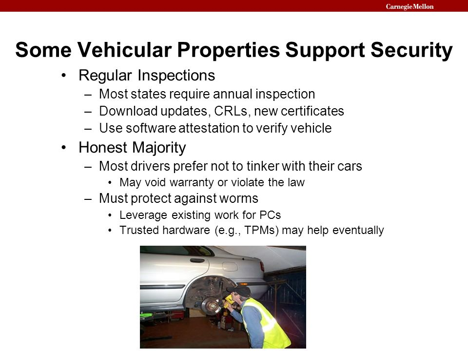 Some Vehicular Properties Support Security