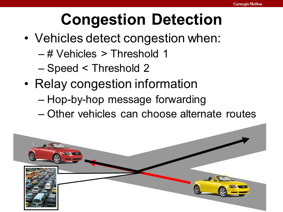 Congestion Detection Vehicles detect congestion when: