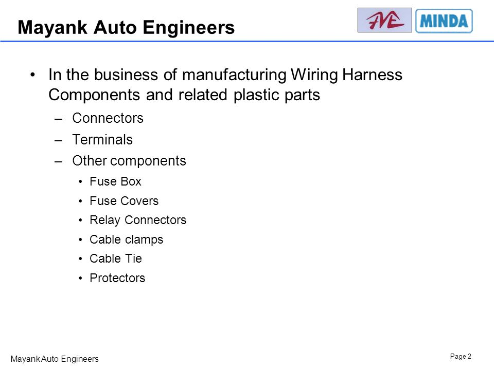 Mayank+Auto+Engineers+In+the+business+of+manufacturing+Wiring+Harness+Components+and+related+plastic+parts. a presentation on mayank auto engineers ppt download wiring harness components at bakdesigns.co