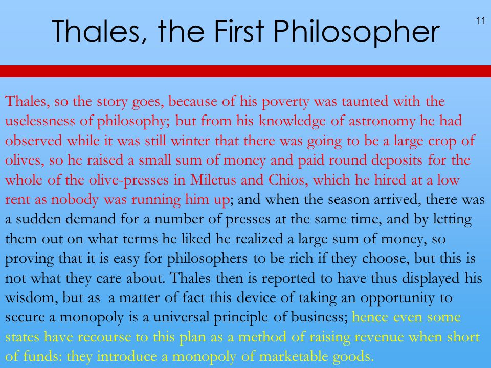 Thales, the First Philosopher