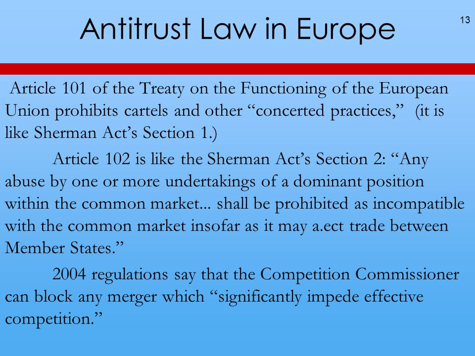 Antitrust Law in Europe