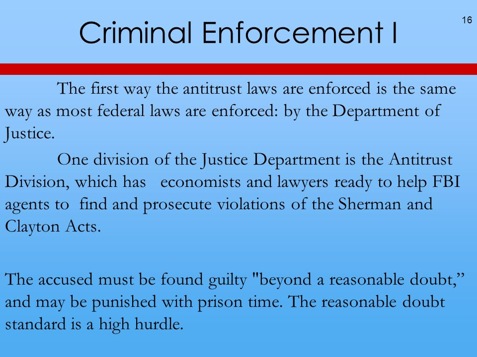 Criminal Enforcement I