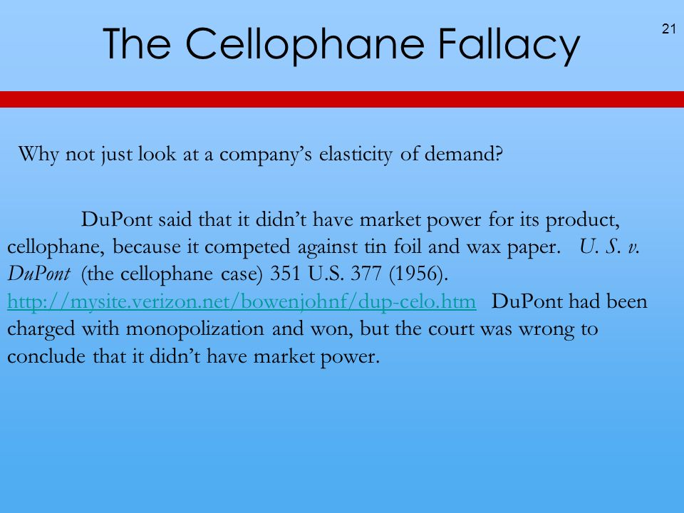 The Cellophane Fallacy