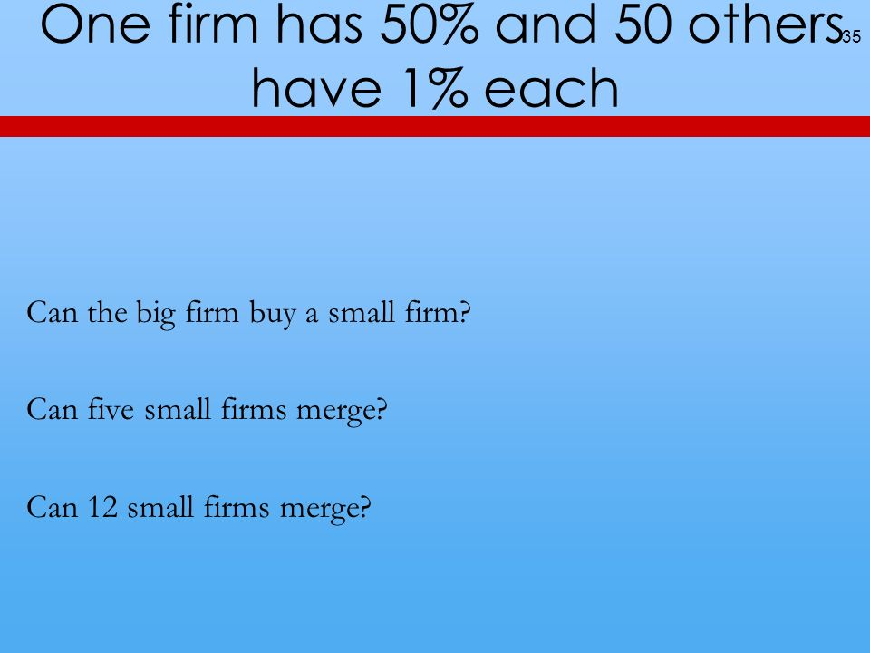 One firm has 50% and 50 others have 1% each
