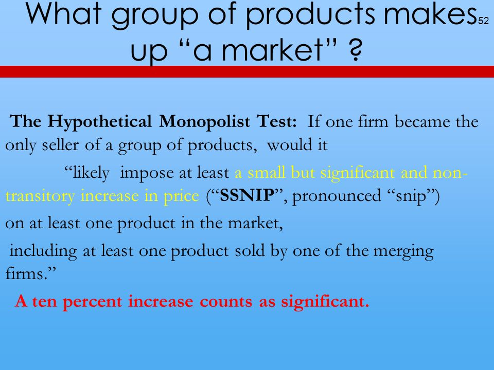 What group of products makes up a market