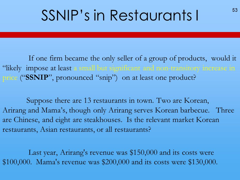 SSNIP's in Restaurants I