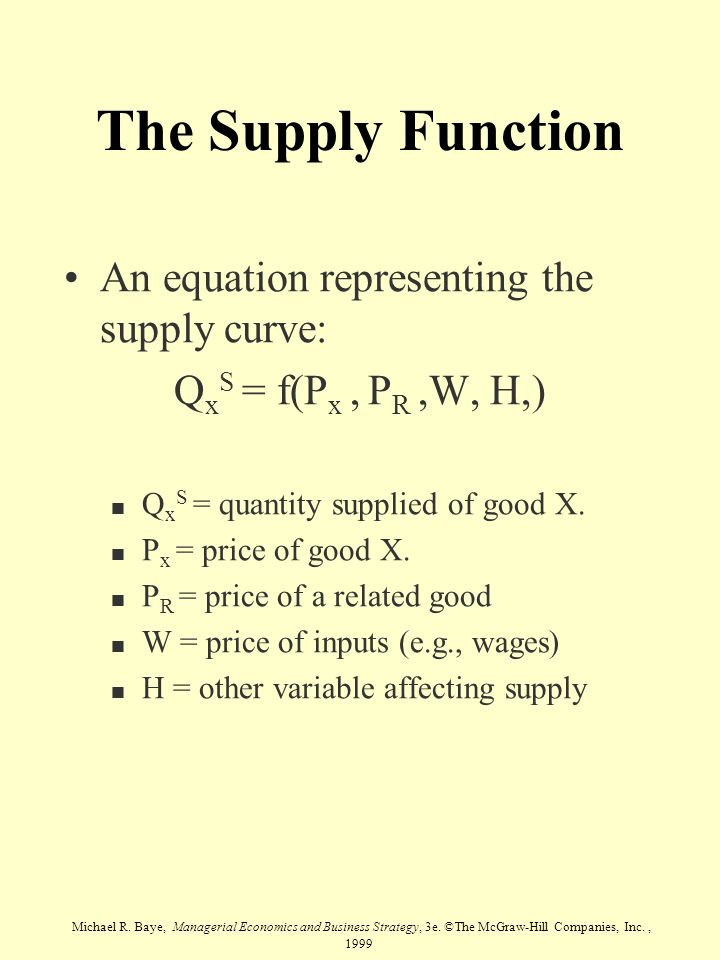 The Supply Function An equation representing the supply curve: