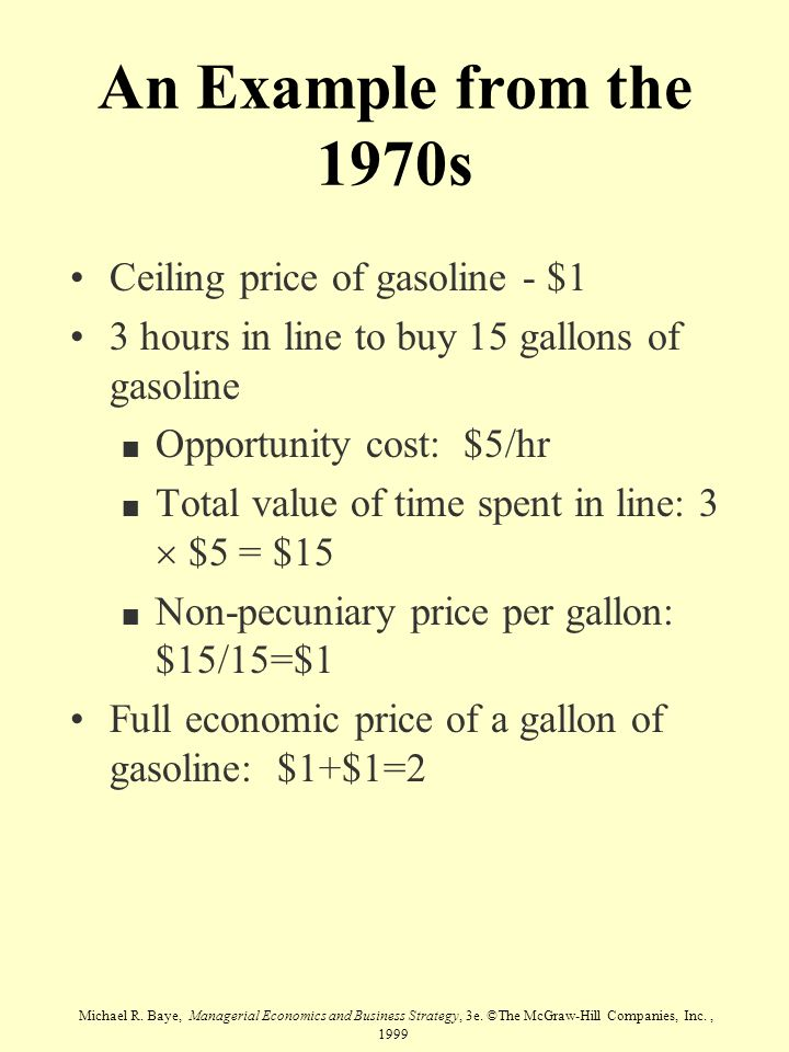 An Example from the 1970s Ceiling price of gasoline - $1