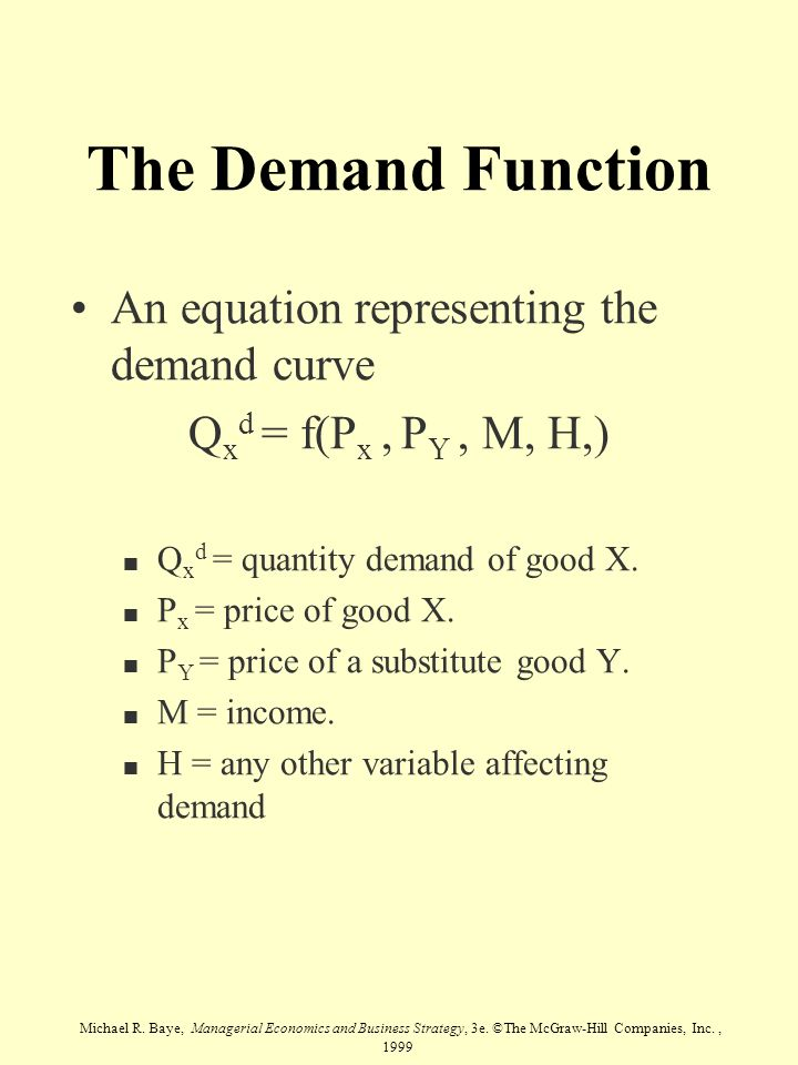 The Demand Function An equation representing the demand curve