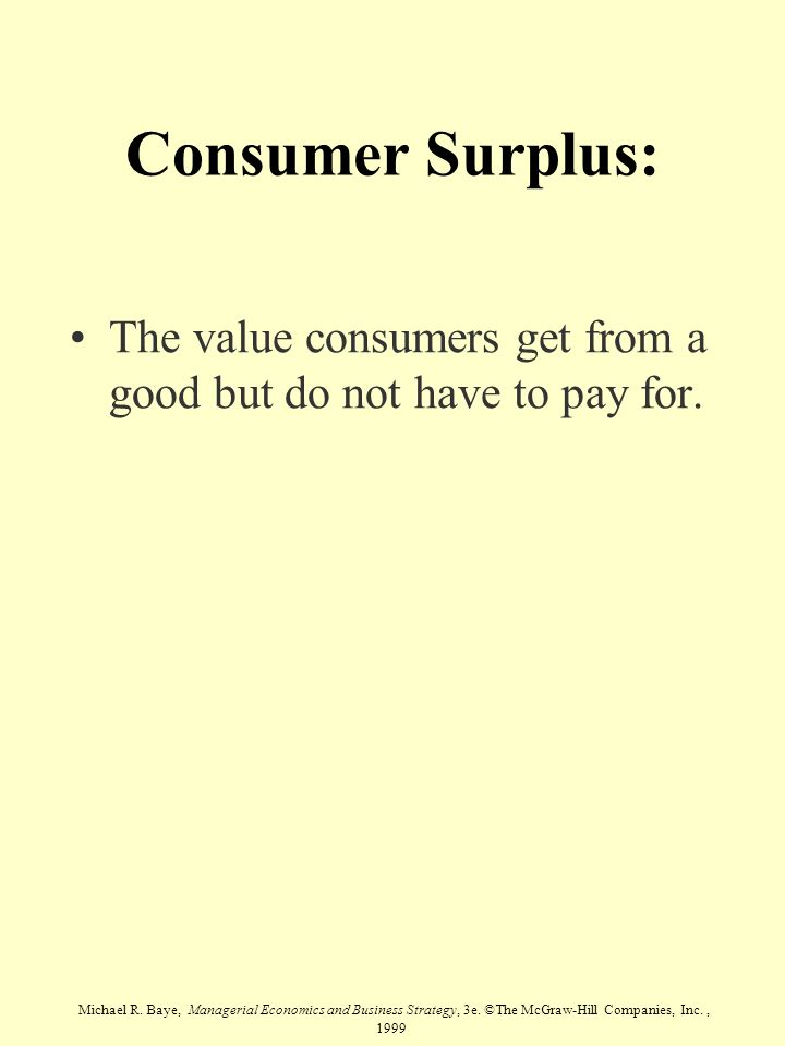 Consumer Surplus: The value consumers get from a good but do not have to pay for.