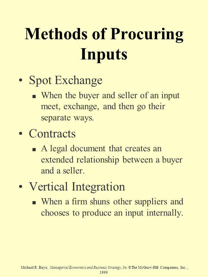Methods of Procuring Inputs