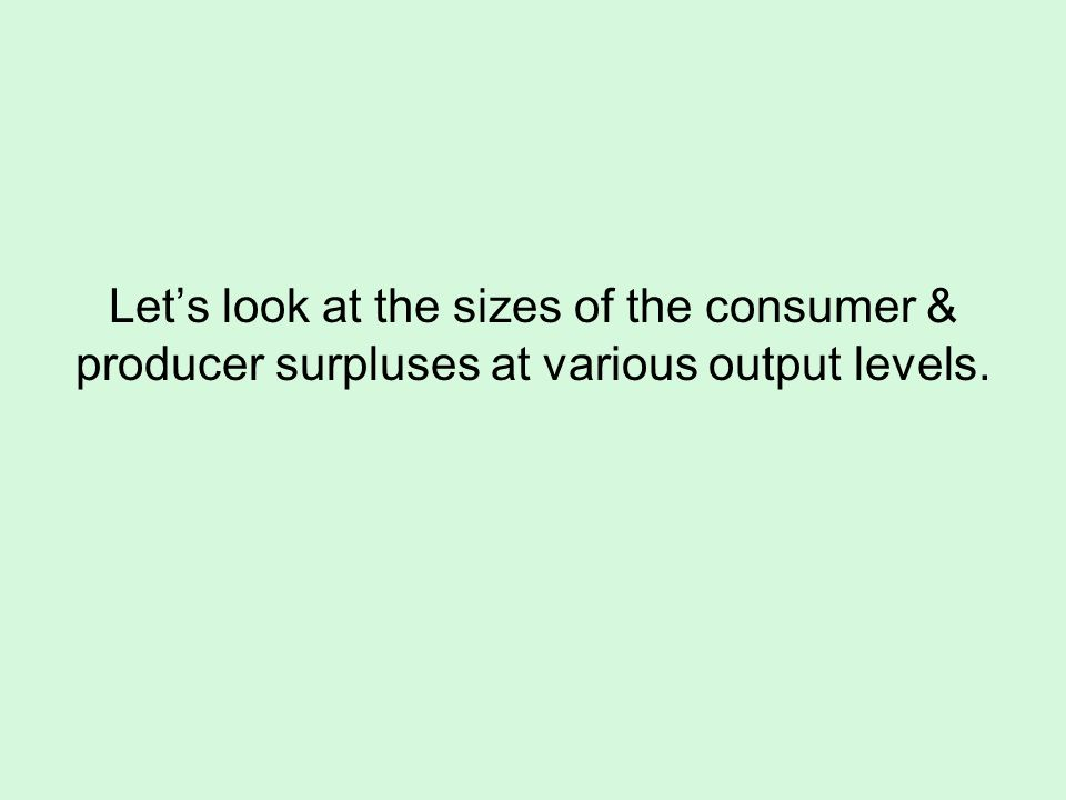 Let's look at the sizes of the consumer & producer surpluses at various output levels.