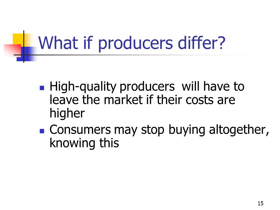 What if producers differ