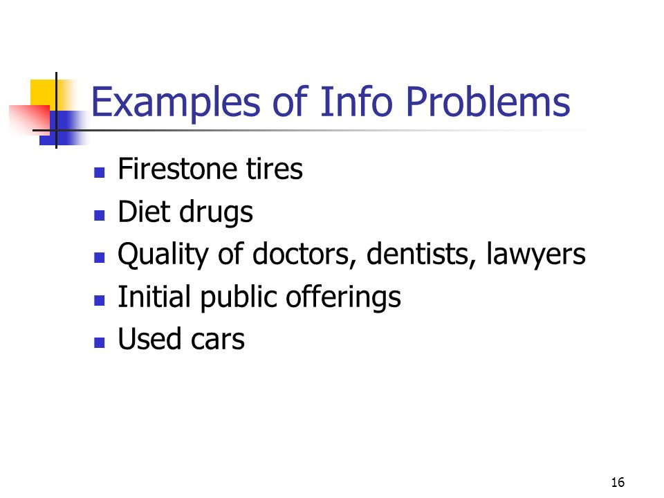 Examples of Info Problems