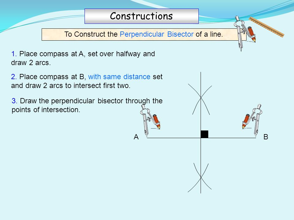 Drawing Perpendicular Lines With A Compass : Ruler compass constructions ppt video online download