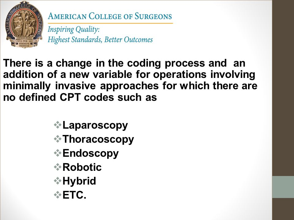 There is a change in the coding process and an addition of a new variable for operations involving minimally invasive approaches for which there are no defined CPT codes such as