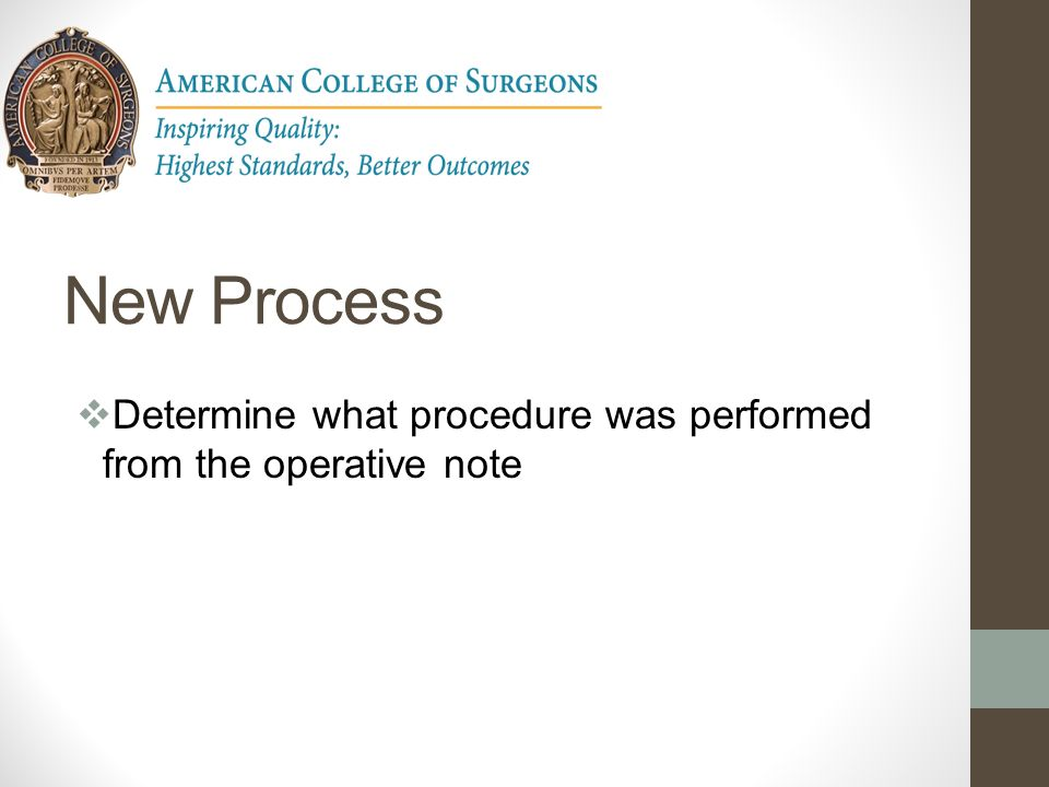 New Process Determine what procedure was performed from the operative note