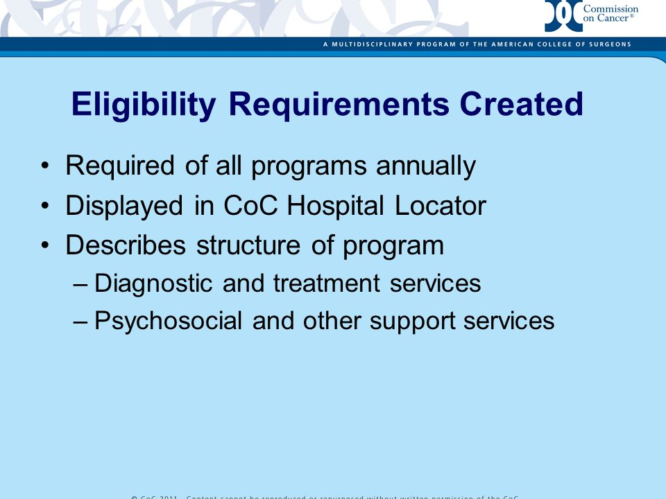 Eligibility Requirements Created