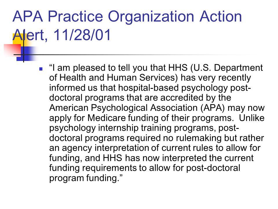 APA Practice Organization Action Alert, 11/28/01