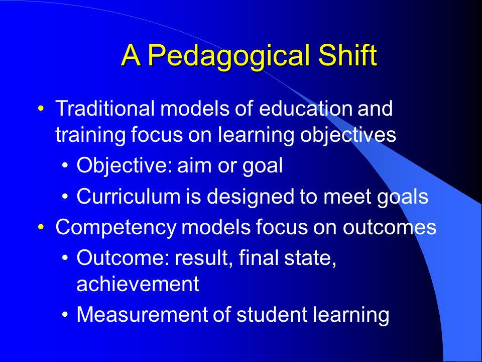 A Pedagogical Shift Traditional models of education and training focus on learning objectives. Objective: aim or goal.
