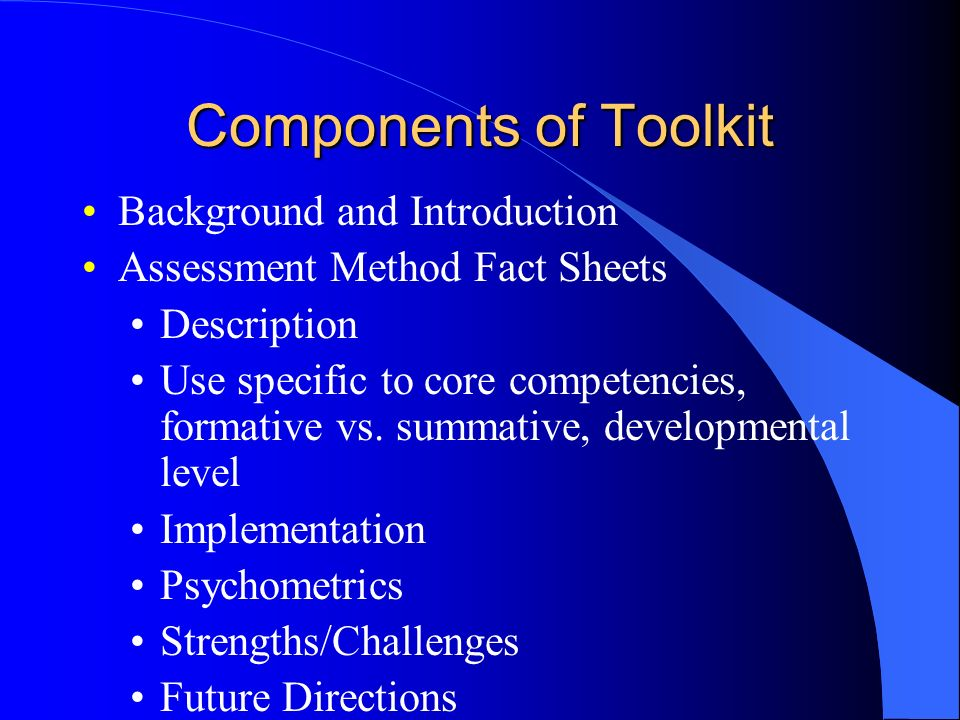 Components of Toolkit Background and Introduction