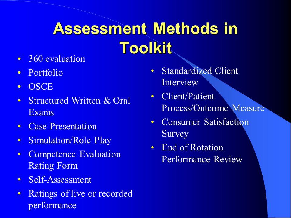 Assessment Methods in Toolkit