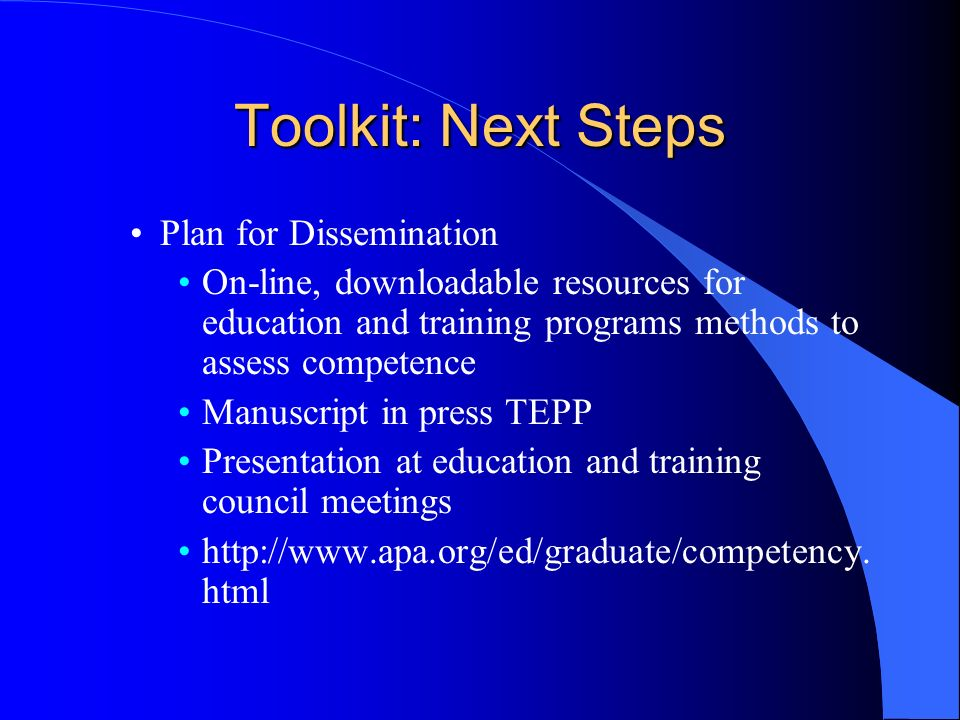 Toolkit: Next Steps Plan for Dissemination