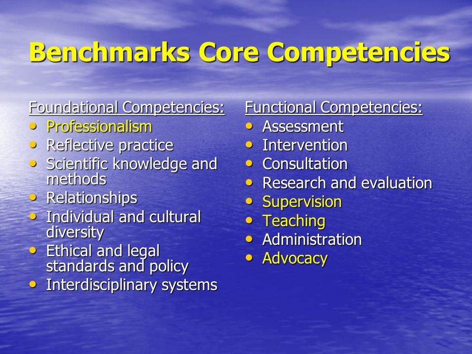 Benchmarks Core Competencies