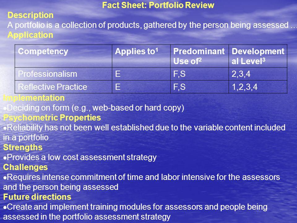 Fact Sheet: Portfolio Review