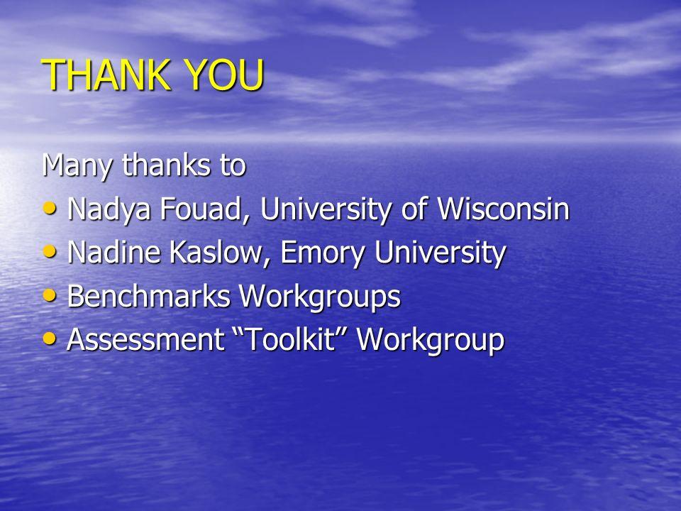 THANK YOU Many thanks to Nadya Fouad, University of Wisconsin