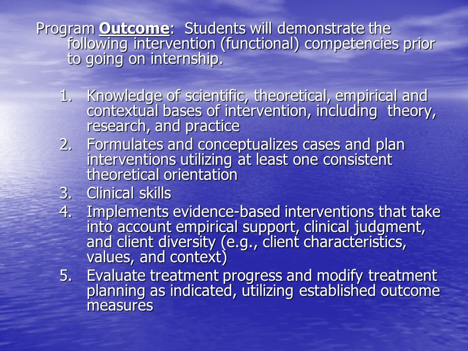Program Outcome: Students will demonstrate the following intervention (functional) competencies prior to going on internship.