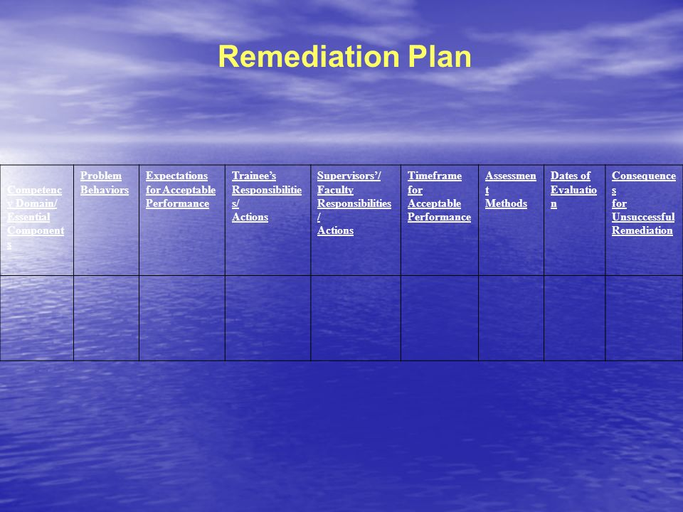Remediation Plan Competency Domain/ Essential Components Problem