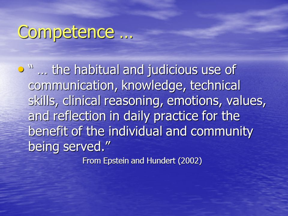 Competence …