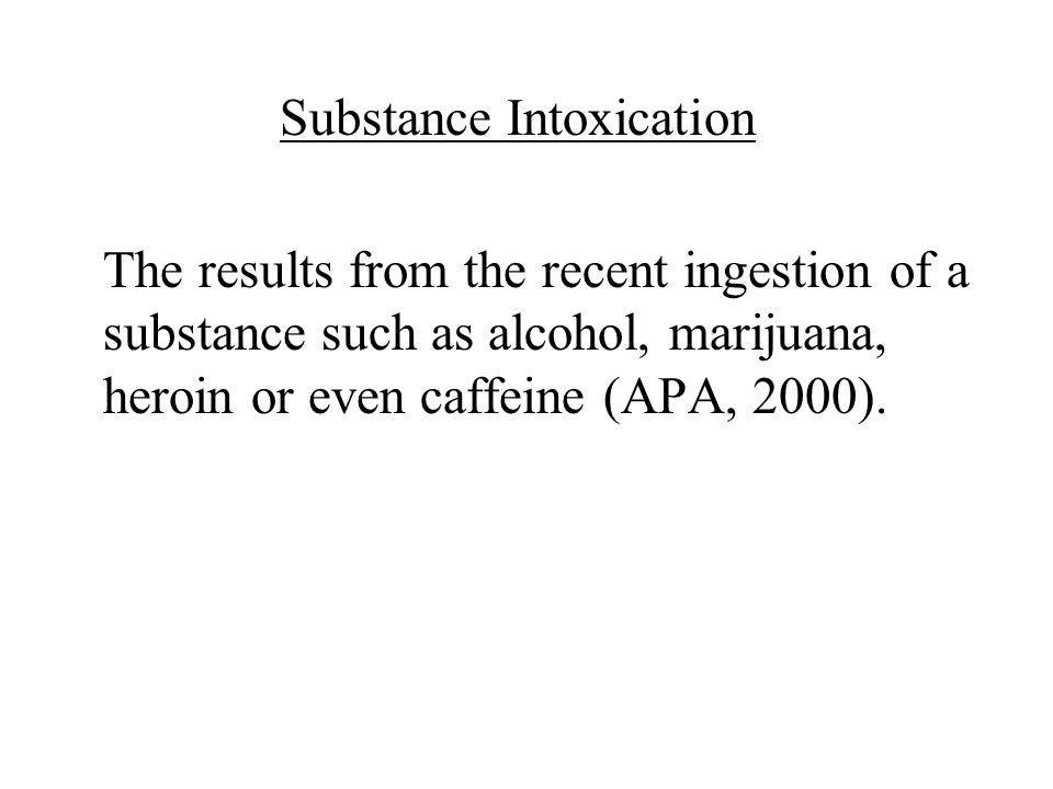 Substance Intoxication